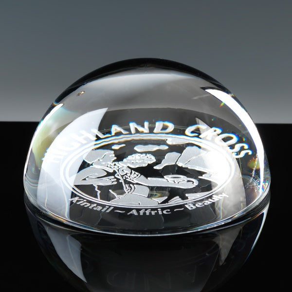 Lead crystal dome paperweight 3.5 personalised
