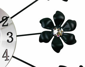 Silver metal flower wall clock