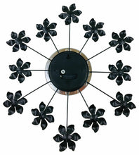 Load image into Gallery viewer, Black metal flower wall clock