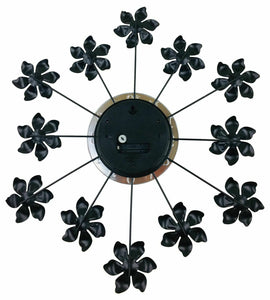 Black metal flower wall clock