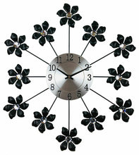 Load image into Gallery viewer, Black & Silver metal flower wall clock