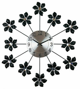 Black & Silver metal flower wall clock