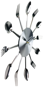 Fork & Spoon Kitchen Utensil Wall Clock
