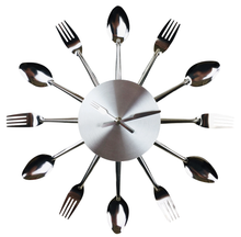 Load image into Gallery viewer, Fork & Spoon Kitchen Utensil Wall Clock