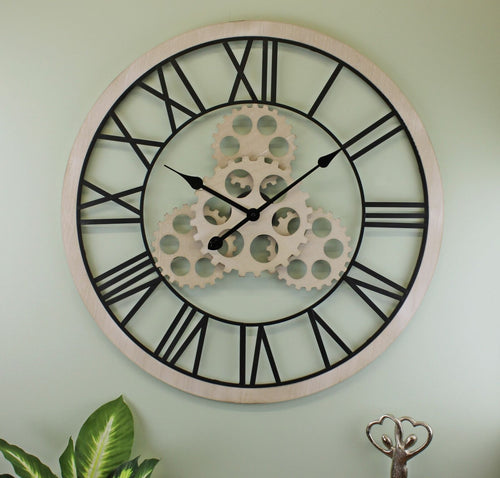large-wood-effect-gear-clock