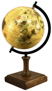 Decorative globe on wooden stand 8 inch