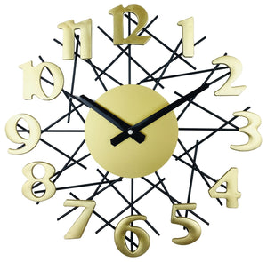 Golden metal geometry design wall clock