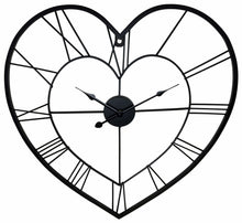 Load image into Gallery viewer, Wall clock love heart metal skeleton vintage roman numerals decor black