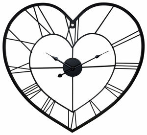 Wall clock love heart metal