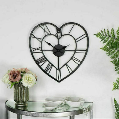 Wall clock love heart metal skeleton vintage roman numerals decor black