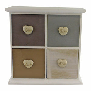 White and neutral coloured love heart trinket drawers