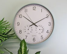 Load image into Gallery viewer, Large green/ grey wall clock 40cm with thermometer/hygrometer