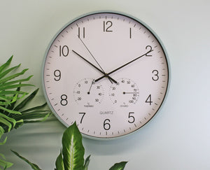 Large green/ grey wall clock 40cm with thermometer/hygrometer