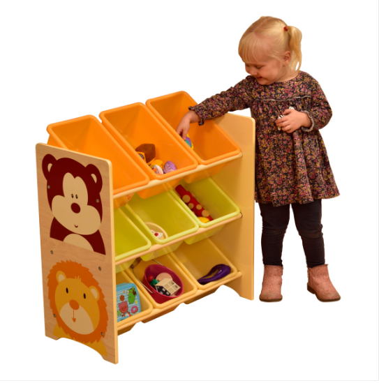 Jungle toy shelf with 9 plastic bins