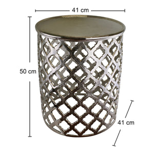 Decorative silver metal side table, lattice design