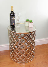 Load image into Gallery viewer, Decorative silver metal side table