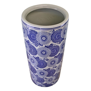 Umbrella stand, vintage blue & white marigold design