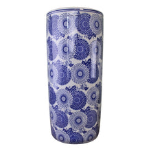 Load image into Gallery viewer, Umbrella stand, vintage blue & white marigold design