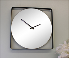 Load image into Gallery viewer, Mirror clock with black metal frame