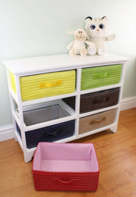 6 drawer storage unit with baskets