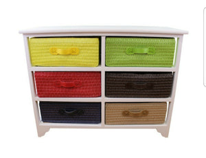 Multi coloured 6 drawer storage unit with baskets