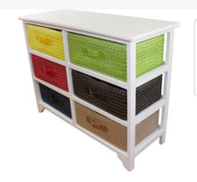 Load image into Gallery viewer, Multi coloured 6 drawer storage unit with baskets