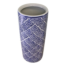 Load image into Gallery viewer, Umbrella stand, vintage blue & white pattern design
