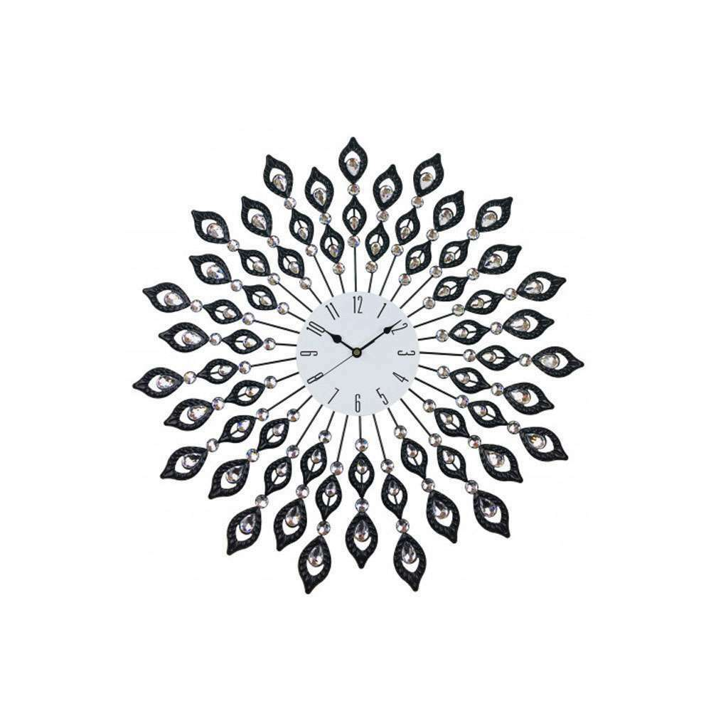 Large diamond peacock style metal wall clock