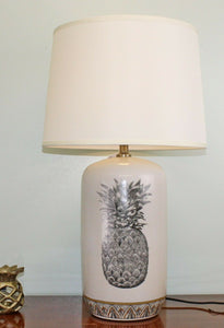 Black and white ceramic lamp with pineapple design 69cm