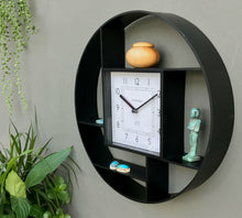 Load image into Gallery viewer, Black plastic wall hanging shelf unit with lock