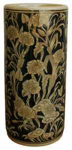 Ceramic umbrella/ walking stick  holder stand embossed with regal design