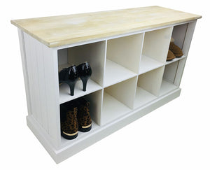 Wooden bench with 8 storage compartments