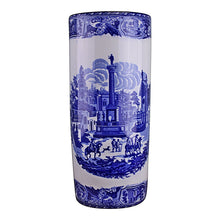 Load image into Gallery viewer, Umbrella stand, vintage blue & white townscape design