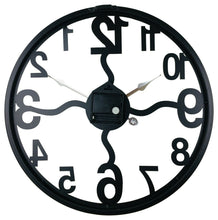 Load image into Gallery viewer, Black metal cut out wall clock open face with wavy posts