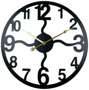 Black metal cut out wall clock open face with wavy posts