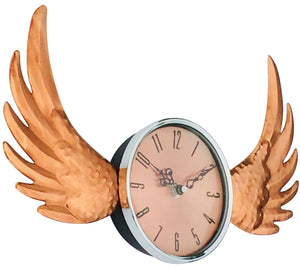 Copper winged wall clock with a glass cover