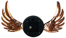 Load image into Gallery viewer, Copper winged wall clock with glass cover