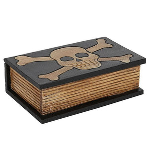 Wooden skull and crossbones box