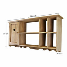 Lade das Bild in den Galerie-Viewer, Wooden wall hanging unit with cupboard and shelves