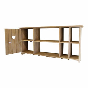 Wooden wall hanging unit with cupboard and shelves