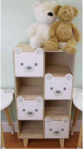 Teddy bear four drawer storage cabinet