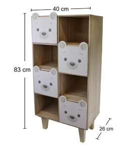 Teddy bear four drawer storage cabinet organizer unit for children's room