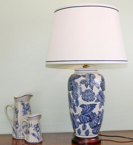 Blue leaves white ceramic lamp with wooden base 70cm