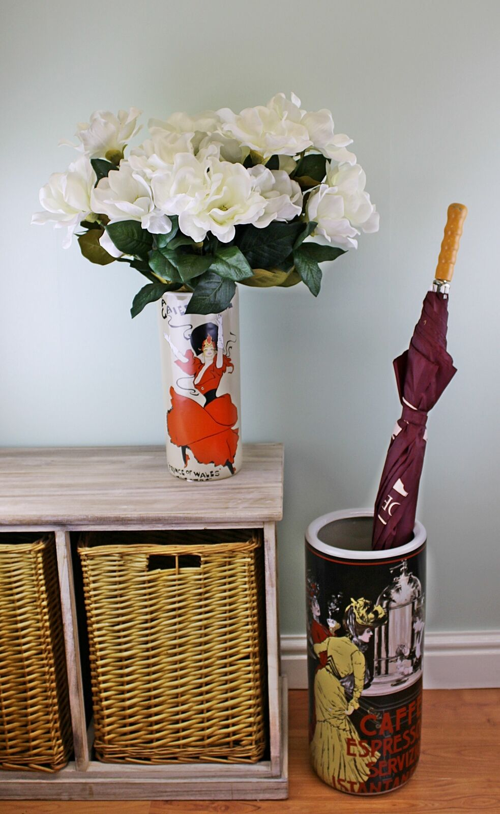 Umbrella stand, caffe espresso design with free vase