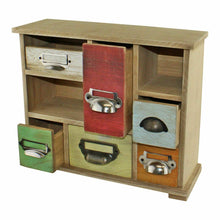 Load image into Gallery viewer, Multi coloured wooden trinket drawers organiser