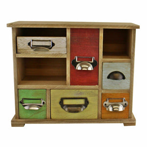 Multi coloured wooden trinket drawers organiser