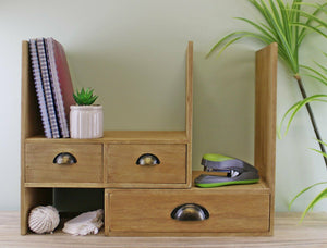 Wooden desktop storage unit