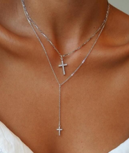 Load image into Gallery viewer, Silver plated cross pendant necklace by Simply Elegance