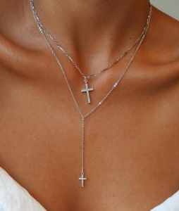 Silver plated cross pendant necklace by Simply Elegance