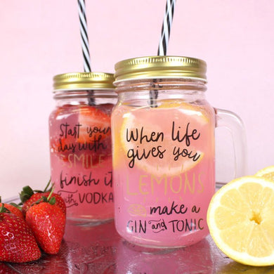 Glass jar with straw serving pranks